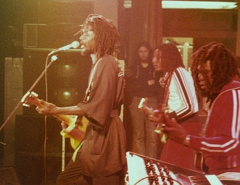 Reggae Singer Peter Tosh with Robbie Shakespeare on the Bush Doctor tour, 1978